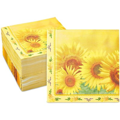 Sparkle and Bash 150 Pack Sunflower Paper Napkins for Floral Party (6.5 x 6.5 In)