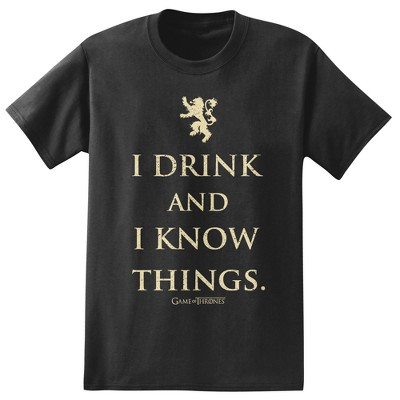 Men's Game Of Thrones I Drink And Know Things  T-Shirt - Black M