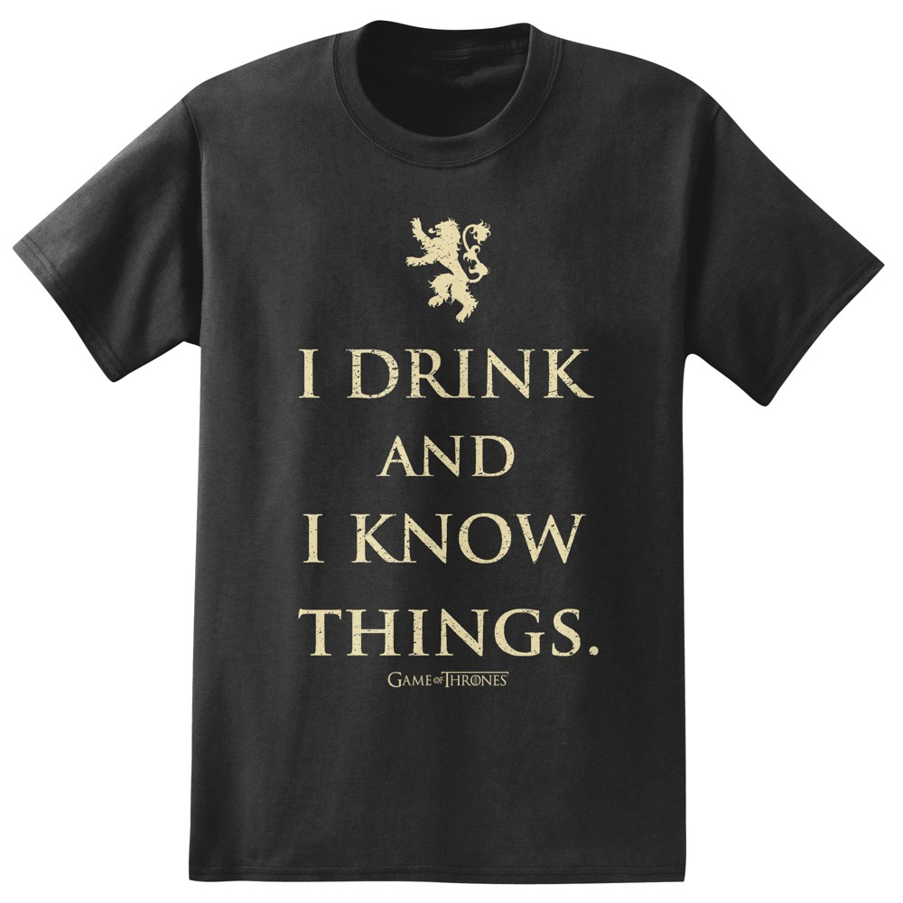 Image of Men's Game Of Thrones I Drink And Know Things T-Shirt - Black S, Size: Small