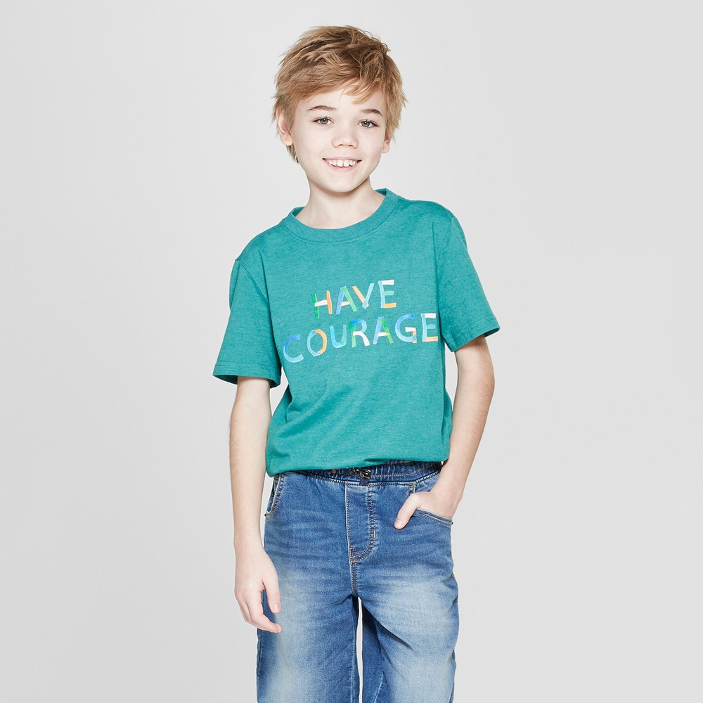 Boys' Have Courage Short Sleeve Graphic T-Shirt - Cat & Jack Green M