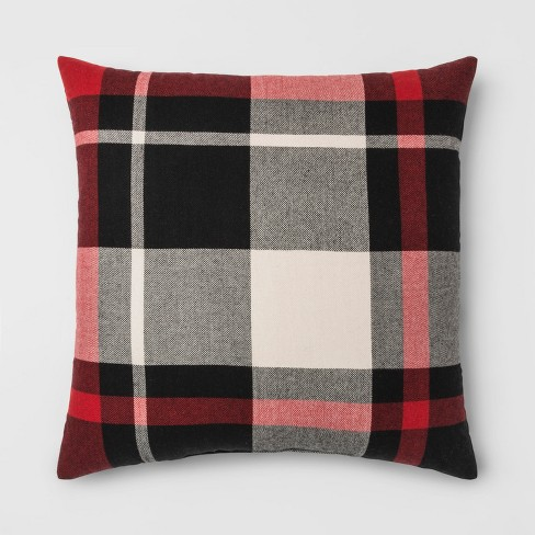 Plaid Oversize Square Throw Pillow Black Red Threshold