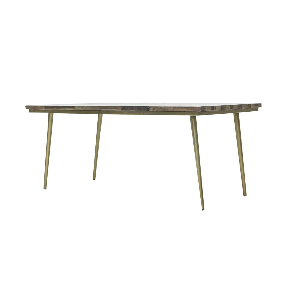 Carmel Wood and Metal Small Dining Table Brown and White - Keswick