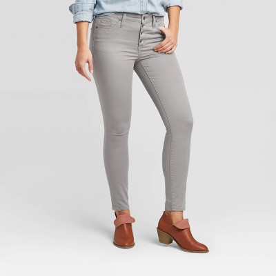 Women's High-Rise Button Fly Skinny Jeans - Universal Thread™ Gray 4