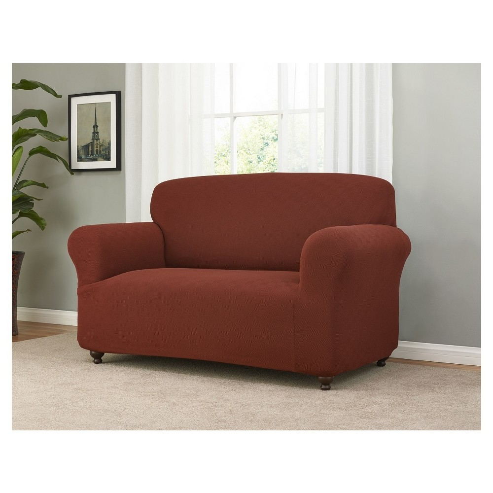 Image of Burgundy (Red) Solid Loveseat Slipcover