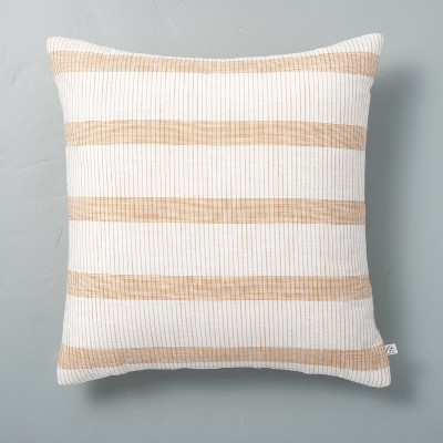 """18"""" x 18"""" Bold Textured Stripe Square Throw Pillow Sour Cream/Yellow - Hearth & Hand™ with Magnolia"""