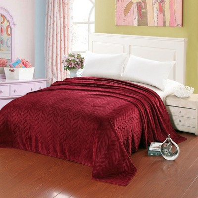Plazatex Leaf Etched Jacquard Micro Plush Bed Throw Blanket Red