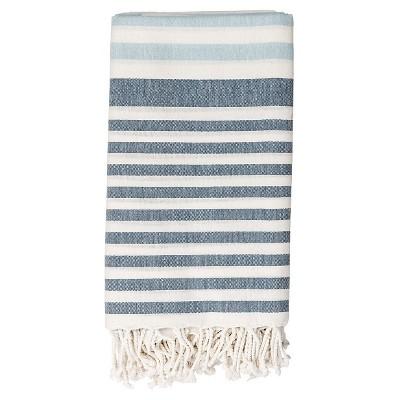 Cotton Throw Blanket - White with Blue Stripes - 3R Studios