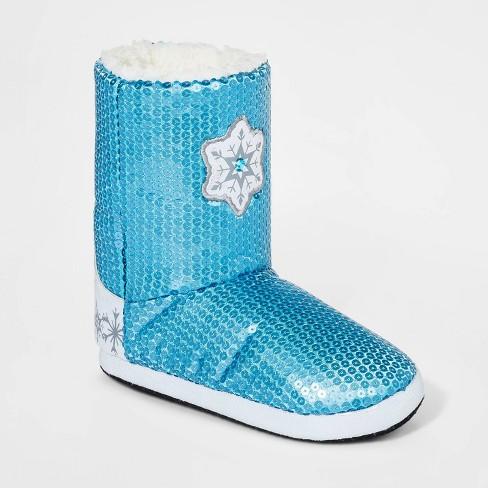 Girls' Disney Frozen 2 Sequin Booties Slippers - Blue M - image 1 of 4