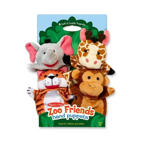 Melissa & Doug Zoo Friends Hand Puppets 4pk - Elephant, Giraffe, Tiger, and Monkey - image 1 of 4