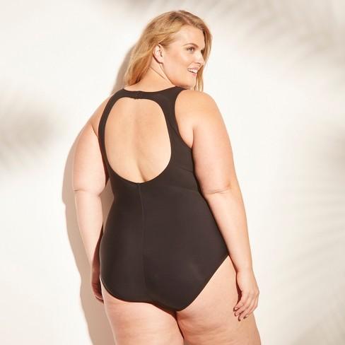 6ef002bb0a1 Women s Mesh Inset One Piece Swimsuit - Aqua Green® Black 24W   Target