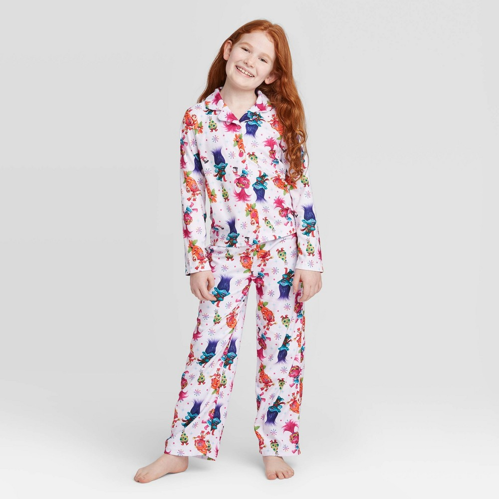 Image of Girls' 2pc Trolls Poly Pajama Set - Off-White 10, Girl's, Beige/White