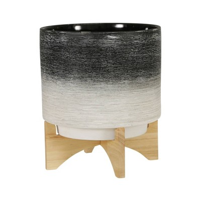 Ceramic Planter on Wooden Stand Gray to White - Sagebrook Home