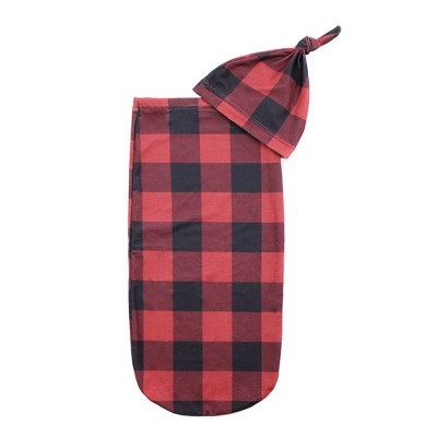 Itzy Ritzy Cutie Cocoon and Hat Swaddle Wrap - Buffalo Plaid