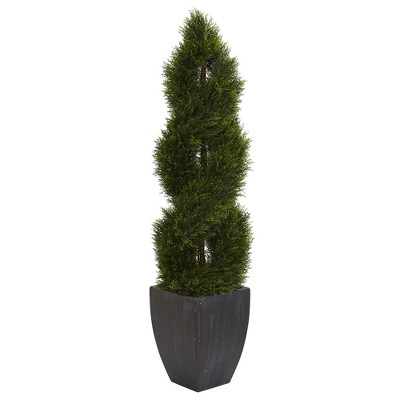 5ft Double Pond Cypress Spiral Topiary Artificial Tree In Black Planter - Nearly Natural