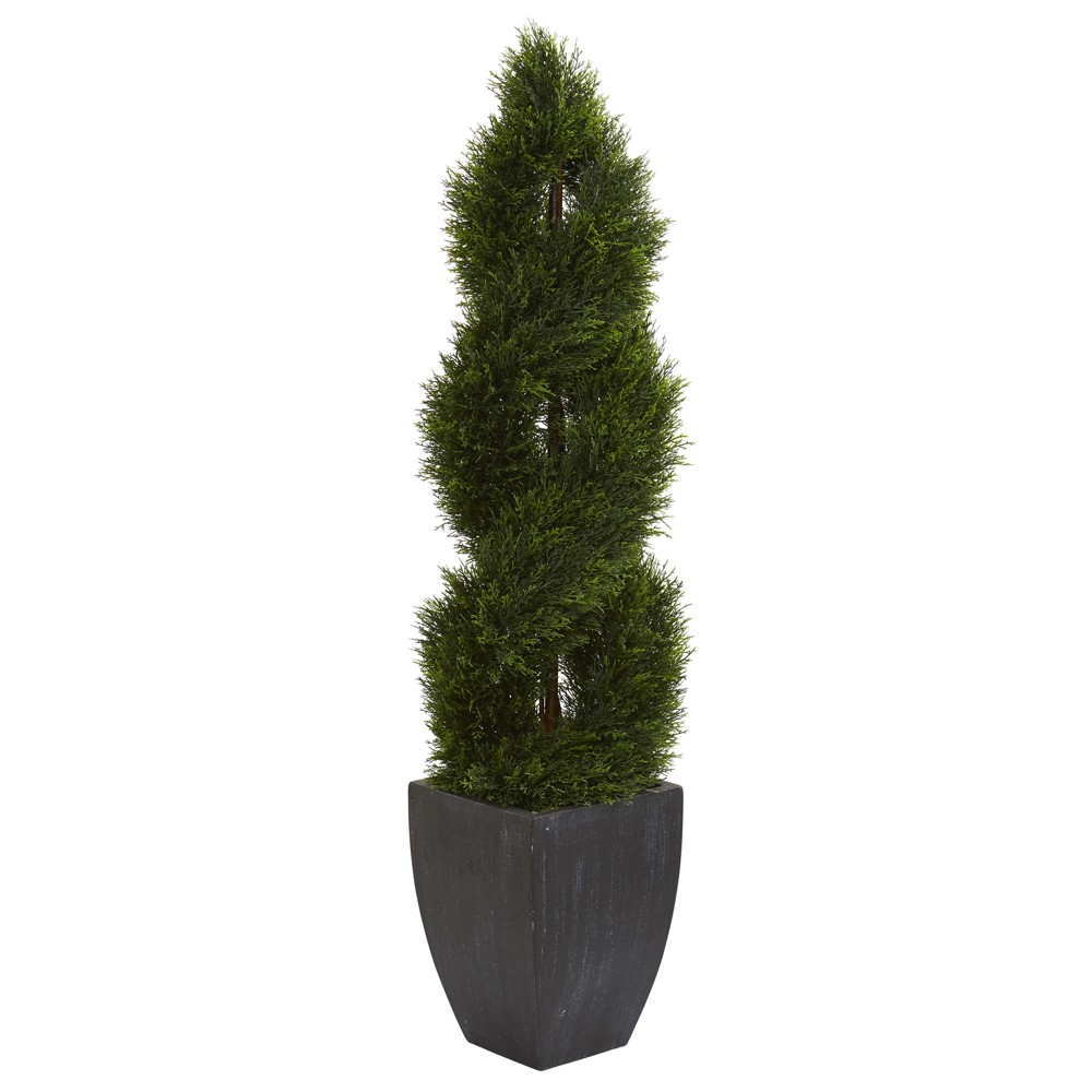 5ft Double Pond Cypress Spiral Topiary Artificial Tree In Black Planter - Nearly Natural, Green
