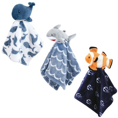 Hudson Baby Infant Boy Animal Face Security Blanket, 3-pack, One Size