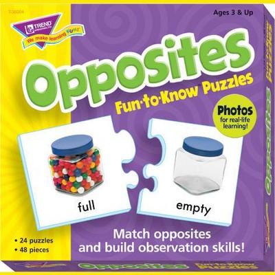 Trend Enterprises Opposites 2-Piece Puzzles, Assorted Themes, set of 24