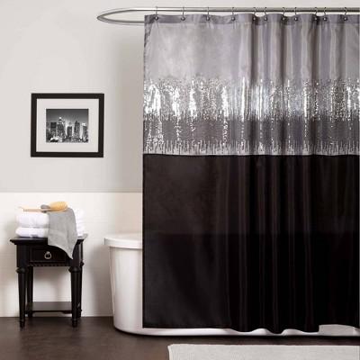Night Sky Shower Curtain Black/Gray - Lush Décor