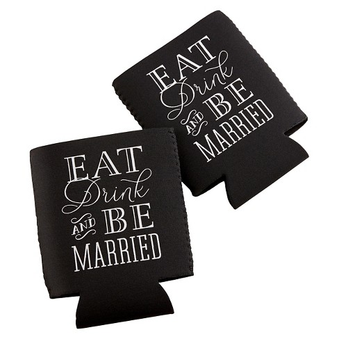 "12ct Kate Aspen ""Eat-Drink & Be Married"" Collapsible Cold/Can Cover - image 1 of 1"