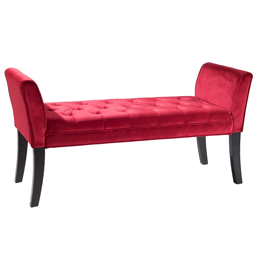 Armen Living Chatham Bench - Red Velvet