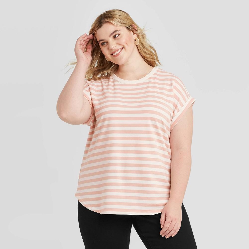 Women's Plus Size Striped Short Sleeve Crewneck Cuffed T-Shirt - Ava & Viv Pink 3X, Women's, Size: 3XL was $16.99 now $11.89 (30.0% off)