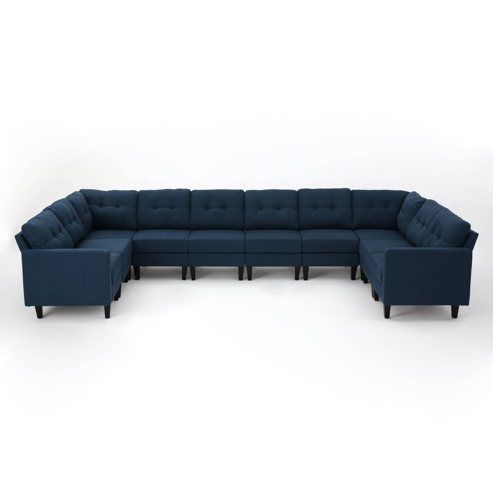 Image of 10pc Emmie Mid Century Modern U-Shaped Sectional Sofa Navy Blue - Christopher Knight Home