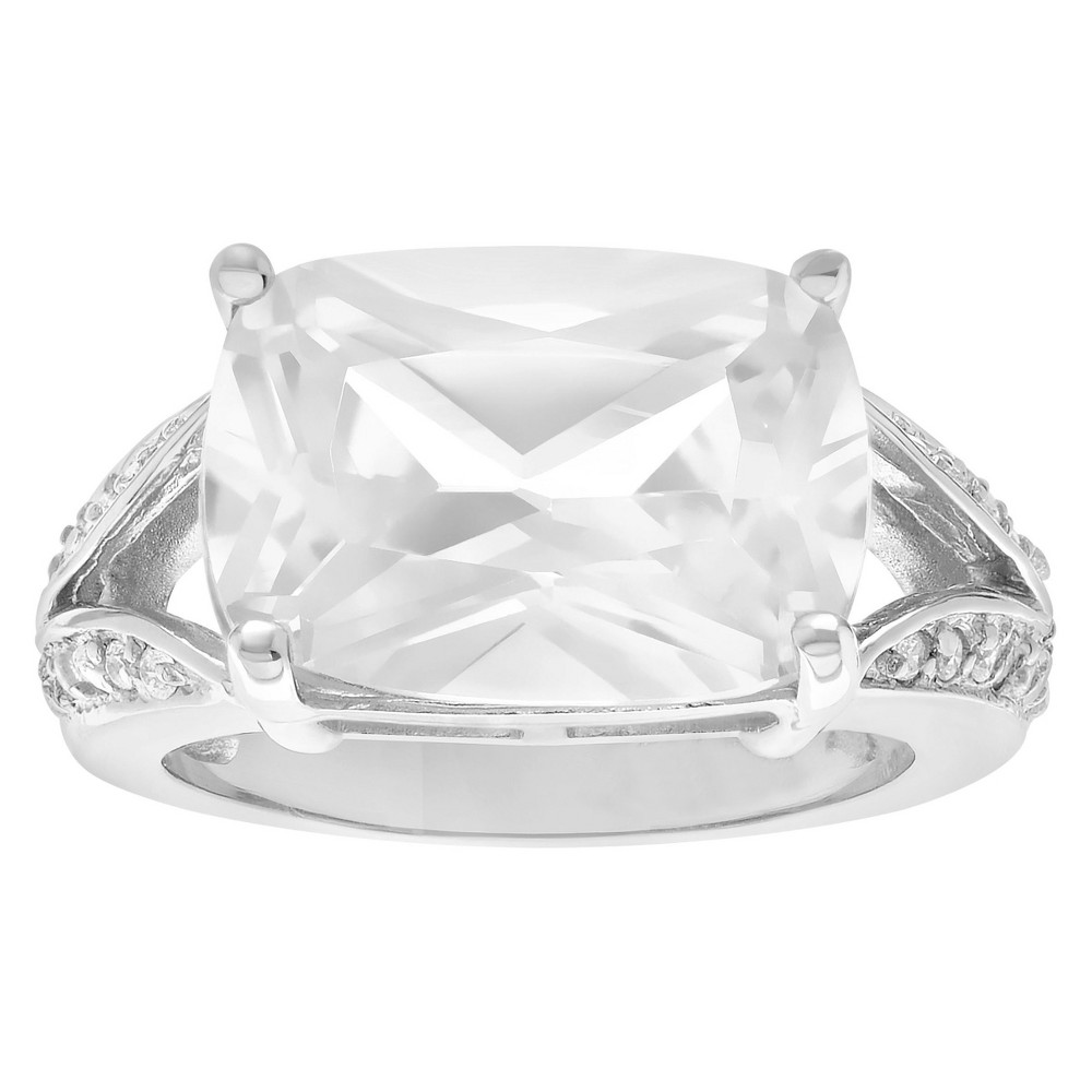 15 CT. T.W. Emerald-cut CZ Basket Set Split Band Engagement Ring in Sterling Silver - Silver, 8, Girl's