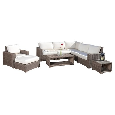 Kingsbay 9pc Wicker Sectional Sofa Set   Mixed Brown   Christopher Knight  Home