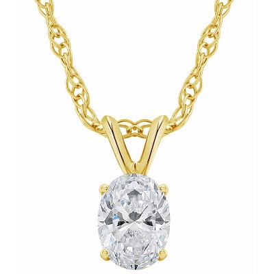 Pompeii3 1/3Ct Certified Lab Created Oval Diamond Solitaire Pendant Yellow Gold Necklace