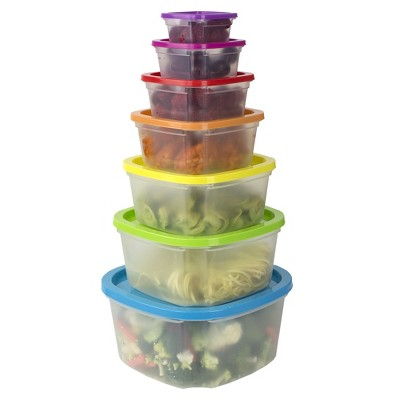 Home Basics 7 Piece Plastic Food Storage Container Set with Multi-Colored Lids