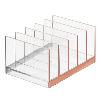 mDesign Plastic Makeup Storage Organizer for Vanity, 5 Sections - Clear