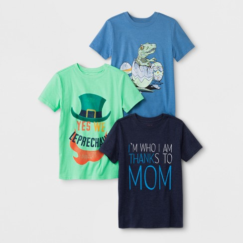 Boys' 3pk Short Sleeve T-Shirt - Cat & Jack™ Blue/Green/Navy - image 1 of 1