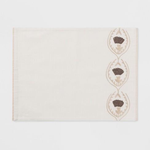 """19""""x14"""" Placed Floral Trellis Placemat Sour Cream - Threshold™ - image 1 of 1"""
