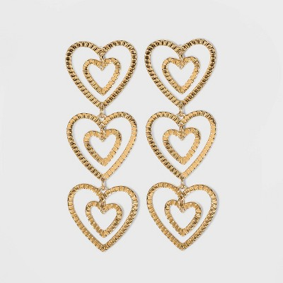 SUGARFIX by BaubleBar Stacked Gold Heart Drop Earrings - Gold