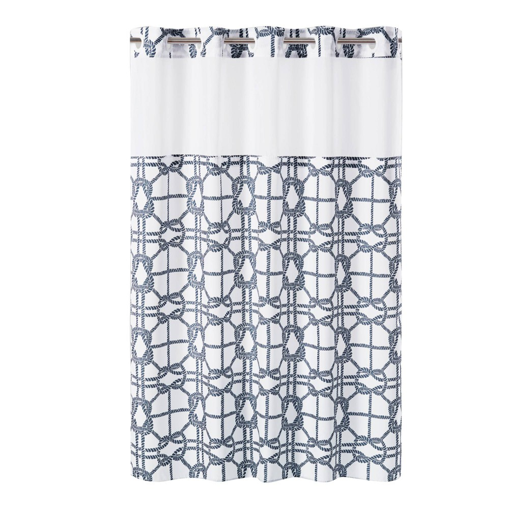 Nautical Lattice Shower Curtain with Liner Navy (Blue) - Hookless