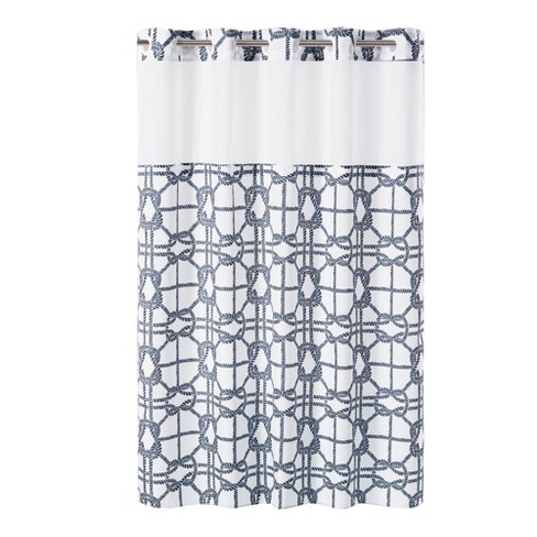 Nautical Lattice Shower Curtain with Liner Navy - Hookless - image 1 of 5