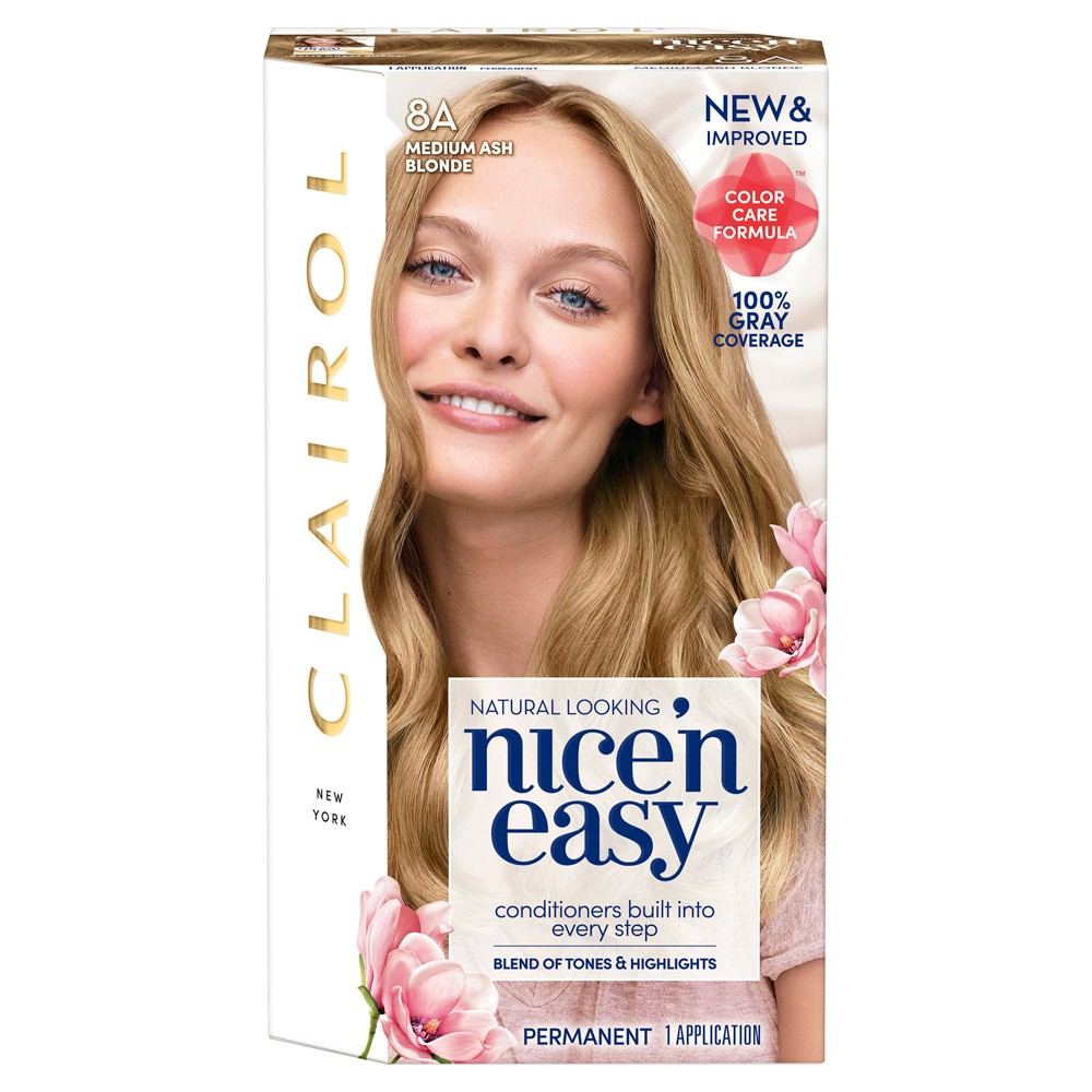 Image of Clairol Nice 'N Easy Permanent Hair Color - 8A Medium Ash Blonde - 1 kit, 8A Medium Grey Yellow