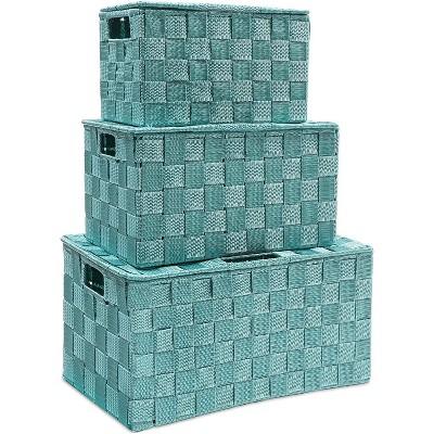 3-Pack Woven Storage Shelf Baskets Bin Box Organizer Rectangle Set, Turquoise 3 Sizes