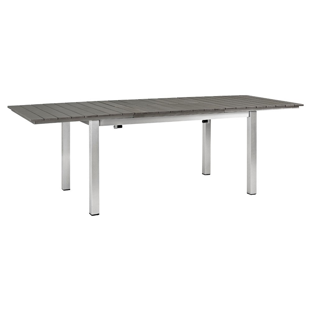 Shore Rectangle Outdoor Patio Wood Dining Table - Silver Gray - Modway, Light Silver