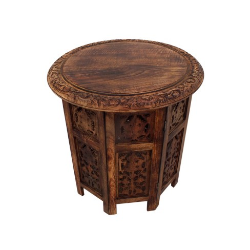 Wooden Hand Carved Folding Accent Coffee Table Dark Chocolate - The Urban Port - image 1 of 4