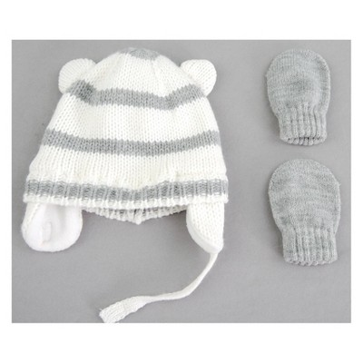 Baby Girls' Stripe Hat and Mitten Set - Cat & Jack™ Gray Newborn