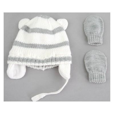 Baby Girls' Stripe Hat and Mitten Set - Cat & Jack™ Gray 0-6M