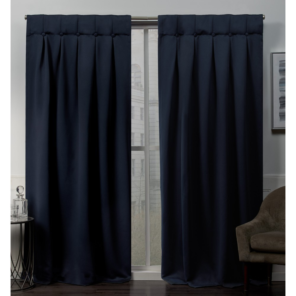 Set of 2 (96x32) Sateen Woven Blackout Button Top Window Curtain Panel Blue Blue - Exclusive Home Compare