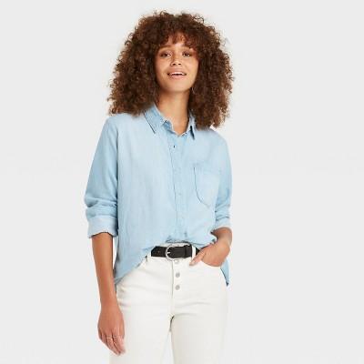 Women's Long Sleeve Denim Button-Down Shirt - Universal Thread™ Blue