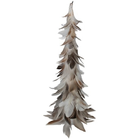"""Northlight 19"""" Brown and Gray Glittered Feather Cone Tree Christmas Decor - image 1 of 3"""