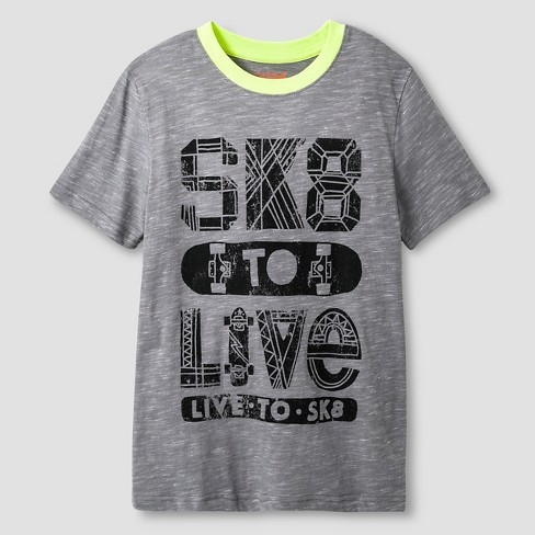 Boys' Sk8 to Live Graphic T-Shirt - Cat & Jack™ Gray - image 1 of 1