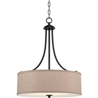 "Franklin Iron Works Oil Rubbed Bronze Drum Pendant Chandelier 19 1/2"" Wide Oatmeal Linen Shade for Dining Room House Bedroom"