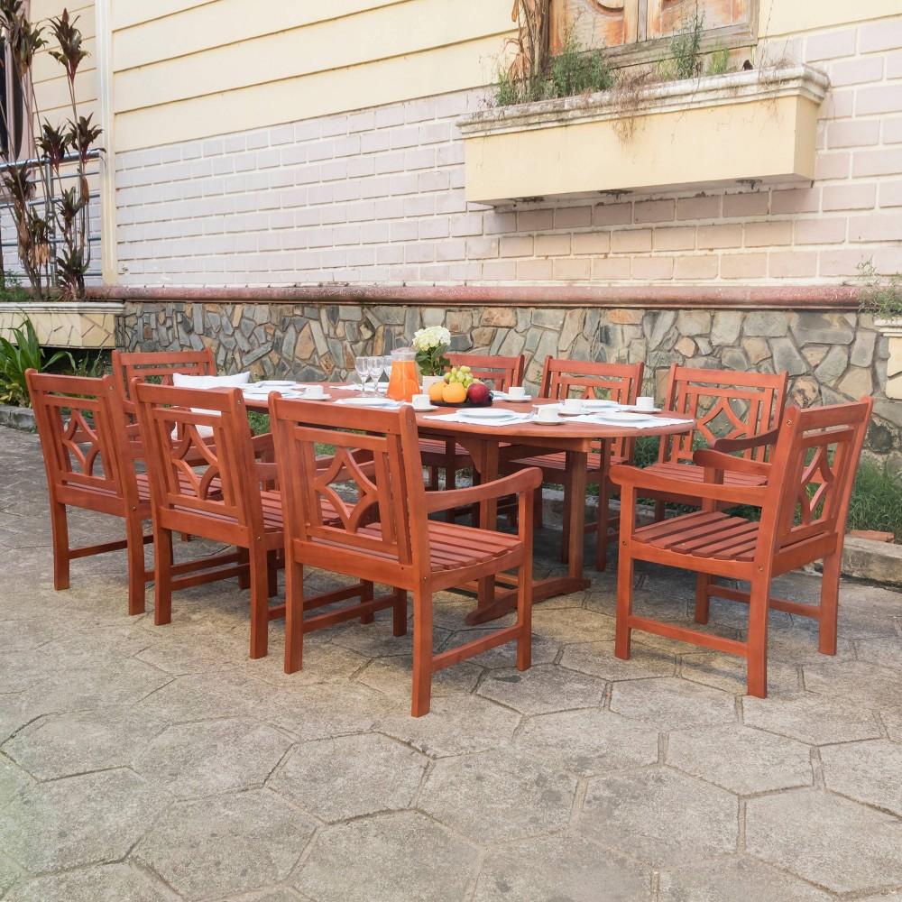 Malibu 9pc Wood Extendable Outdoor Patio Dining Set - Tan - Vifah