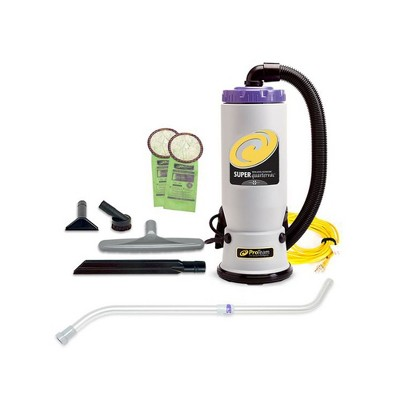 ProTeam 107103 QuarterVac 6 Quart Multifunctional Backpack Vacuum with 2 Piece Wand Tool Kit, Various Attachments, and 50 Foot Extension Cord, Gray