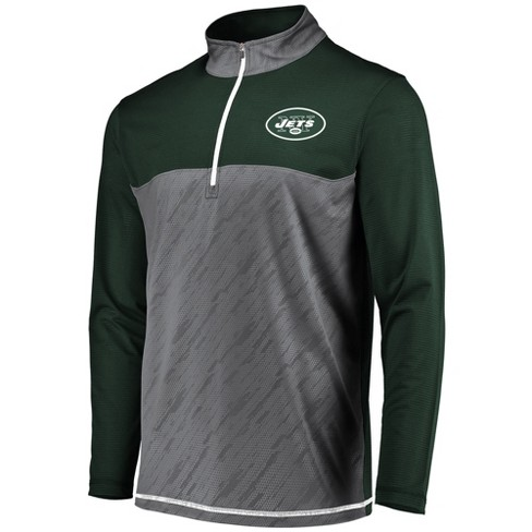NFL New York Jets Men's Striped Geo Fuse/ Gray 1/2 Zip - image 1 of 2
